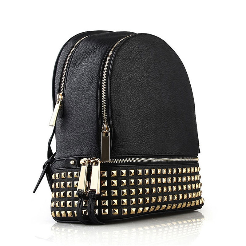 Designer de Luxo Bolsa para a Menina Mulheres Mochila Senhoras Couro Genuíno Bagpack Viagem Pequena Escola Rebite Bolsas Ombro Mujer