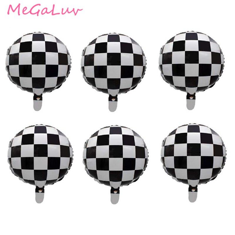 6 шт. 18-дюймовые черные белые гоночные автомобильные воздушные шары, круглые баллоны с гелием, украшения для тематических вечеринок, спортив...