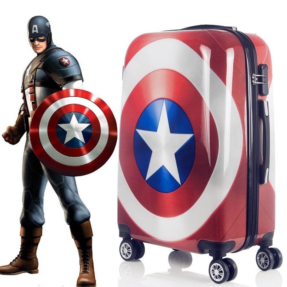 Capitão américa mala de viagem desenhos animados, mala de viagem, carrinho, 20 polegadas, caixa fofa 24 polegadas