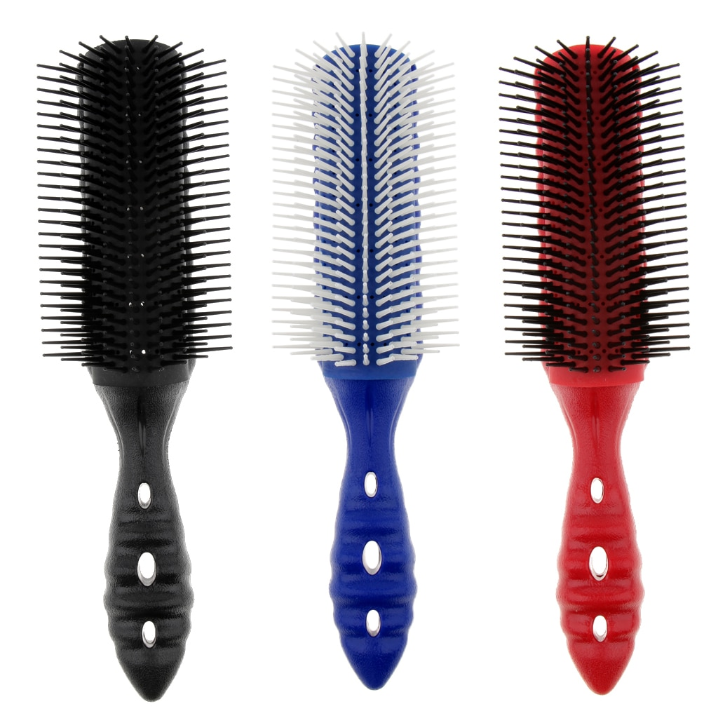 Peine para pelo con estilo antiestático, 9 filas, cepillo de pelo suave, cepillo de pelo liso, rizado, cepillo de pelo, peines de pelo