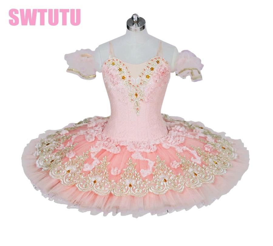 light pink peach professional ballet Tutu adult classical ballet tutu with flowers adult pancake tutu paltterBT9028 недорого