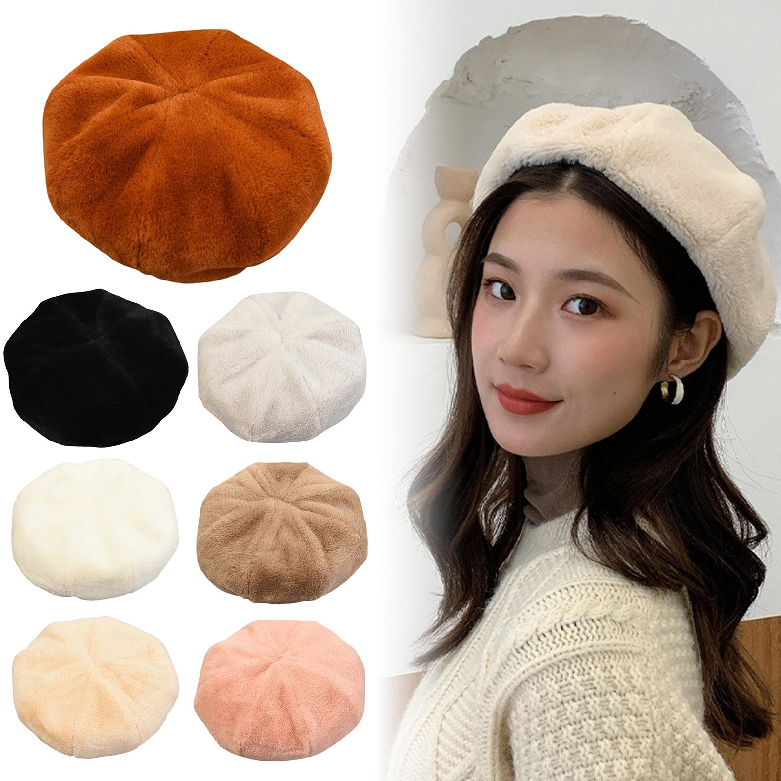 Woman Autumn Winter Warm Fashion Solid Color All-Match Berets Beanie Cap Hat