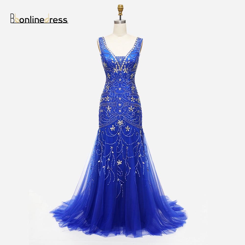Barato elegante sirena vestido de noche con cuentas de cristal con cuello en V Champagne vestidos de noche color champán envío gratis vestidos fiesta Formal