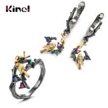 Kinel Vintage Ring kolczyk drzewo na szczęście ptak zestawy biżuterii dla kobiet gotyckie czarne złoto CZ kolczyki z kamieniem etniczna biżuteria ślubna