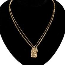 Colliers et pendentifs en pièces de monnaie rondes de couleur or pour femmes, bijoux à breloques simples multicouches avec Portrait