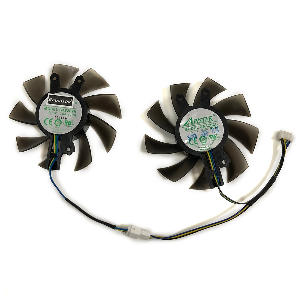 2Pcs/set GA82S2H GTX1060 GPU VGA Cooler Fan For PNY GTX1060 6GB XLR8 Gaming OC Card Cooling As Replacement