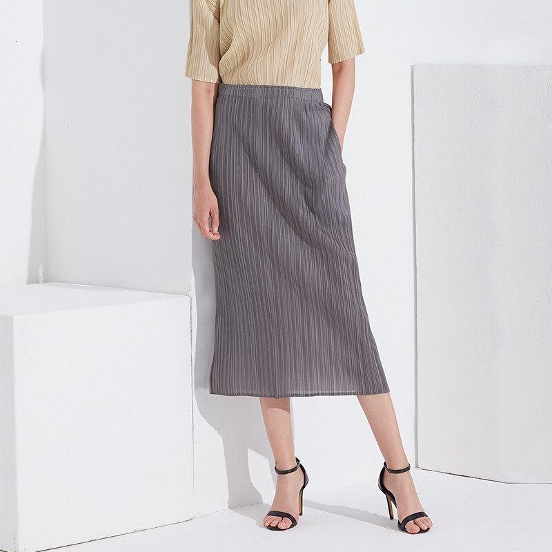 Lanmrem 2020 verão novo temperamento fino conforto saco hip saia feminina plissado cor sólida saia de cintura alta pb969
