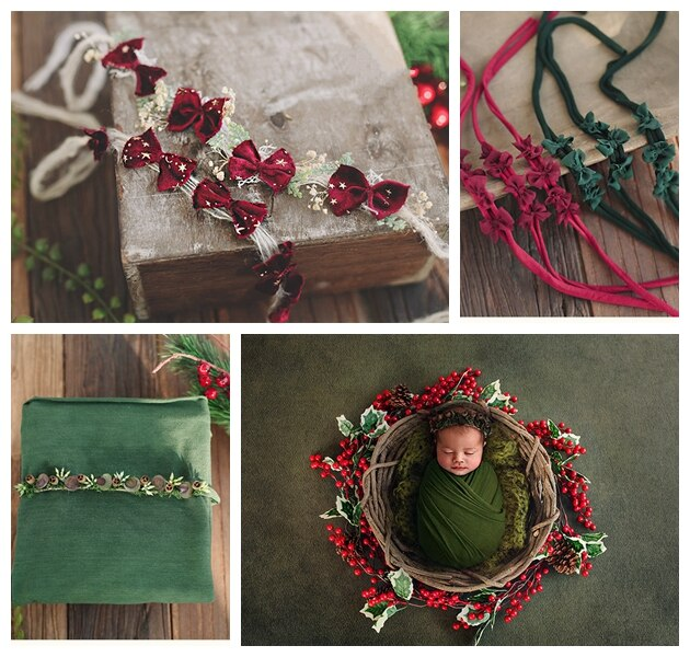 New Year's Christmas bow hair ribbon gold star velvet flower baby photo shoot newborn photography props