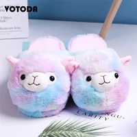 votoda hot winter warm plush indoor slippers cute colorful alpaca cotton home women slippers new flat furry house bedroom shoes