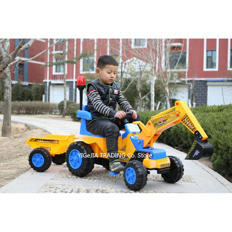 Детский экскаватор и бульдозер с прицепом, экскаватор трактор игрушки игрушечный бульдозер экскаватор для детей ездить на, включает шлем и ...
