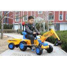 Pelle et poussoir pour enfants avec remorque, pelle tracteur jouets Bulldozer jouet pelle pour enfants monter sur, comprend casque et outils