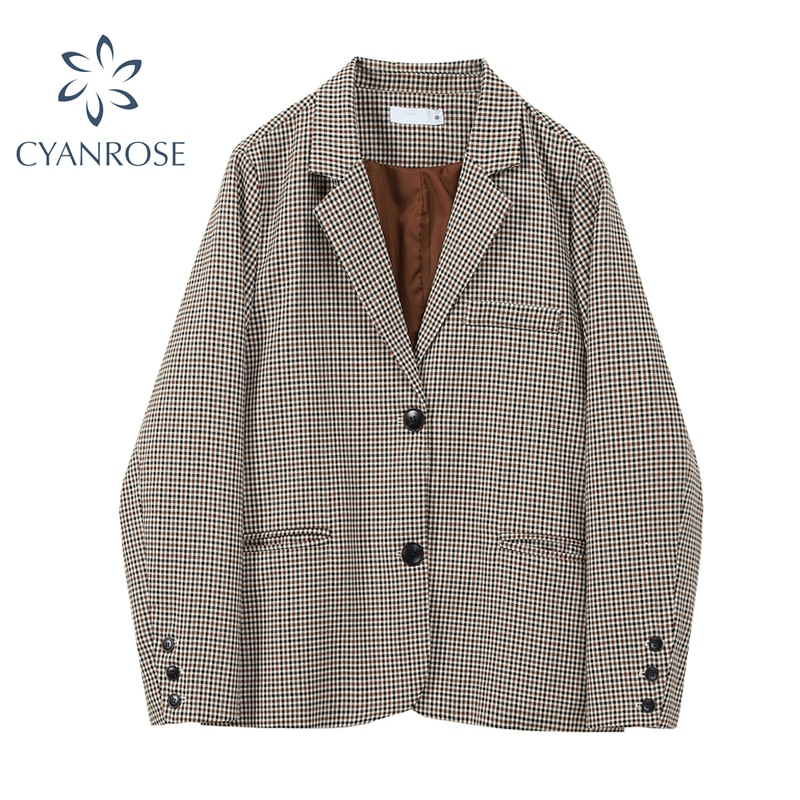 Vintage Brown Plaid Blazer For Women's Korean Loose Office Long Sleeve Chic Casual Leisure Suit Coat