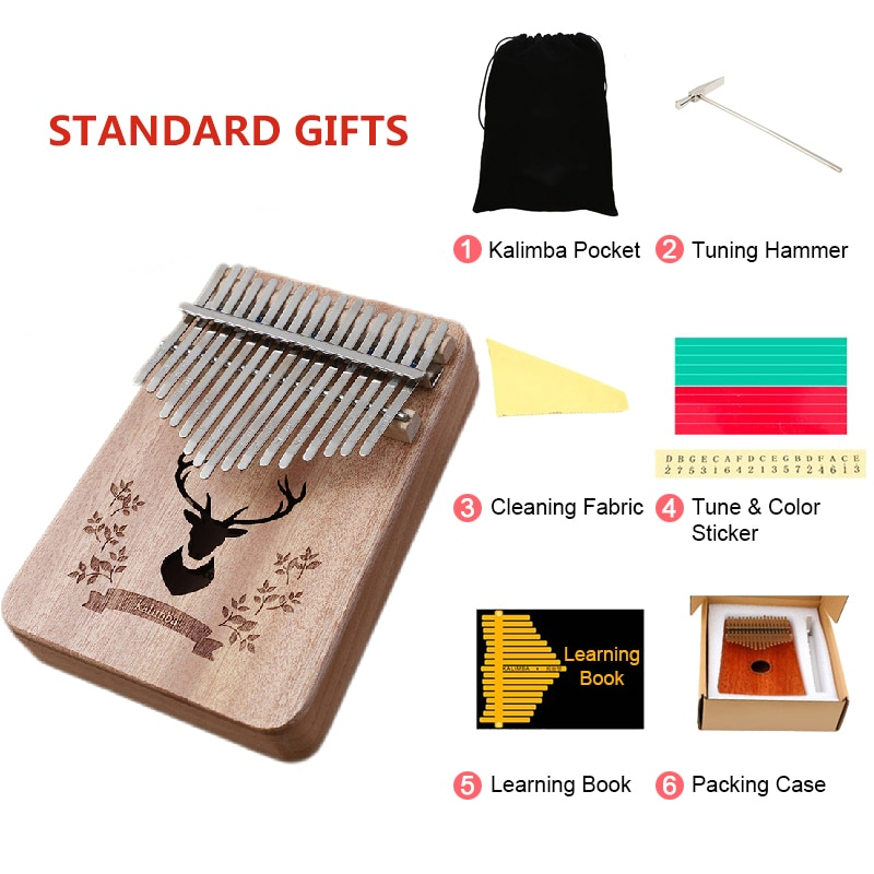 17 Key Kalimba Thumb Piano Mahogany Solid Wood Musical Instrument African Finger Pianos Machine Instrument Accessories enlarge