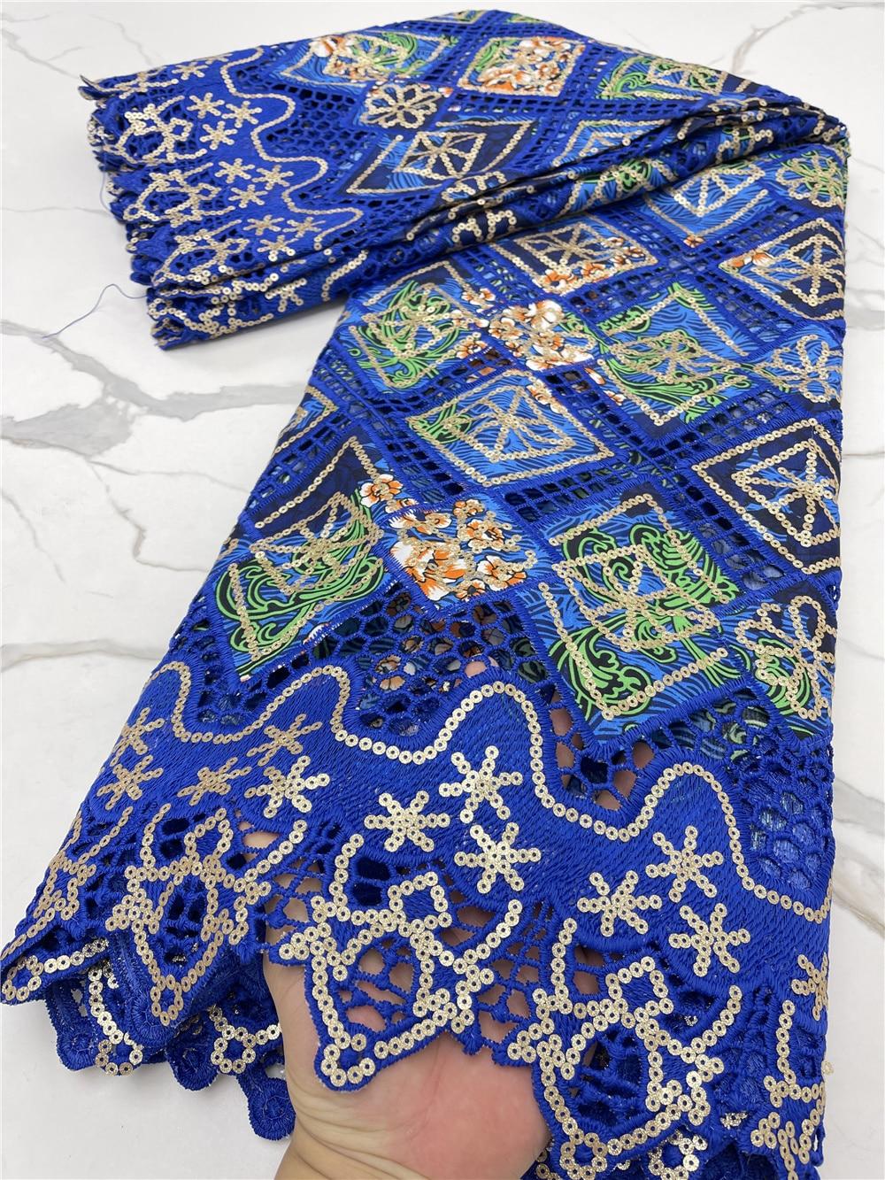 PGC الأزرق الأفريقي الشمع الترتر أقمشة الدانتيل 2021 شمسيّة دانتيل عالية الجودة النيجيري الفرنسية أقمشة الدانتيل لفستان الزفاف الخياطة YA4211B-3