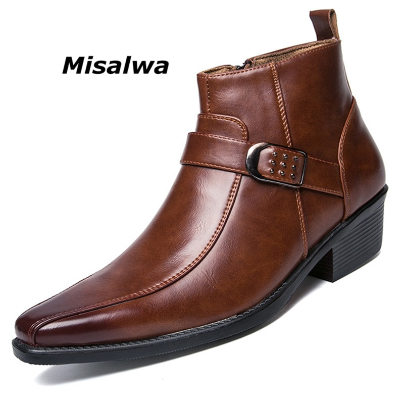 Misalwa/мужские Модельные ботильоны на молнии; Кожаные ботинки; Модель 2020 года; Сезон осень; Мужские мотоботы в британском стиле ретро; Повседневная обувь с черной пряжкой; Zapatillas