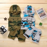 toddler kids baby boys summer casual clothes sets camouflage letter printed sleeveless hooded tops shorts 2pcs sets