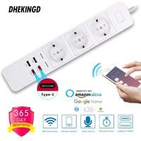 Wifi Smart Power Strip 2 Type-c 2 USB 3 AC Outlets EU Plug Charging Station Echo Alexa Google Home IFTTT Remote Voice Control