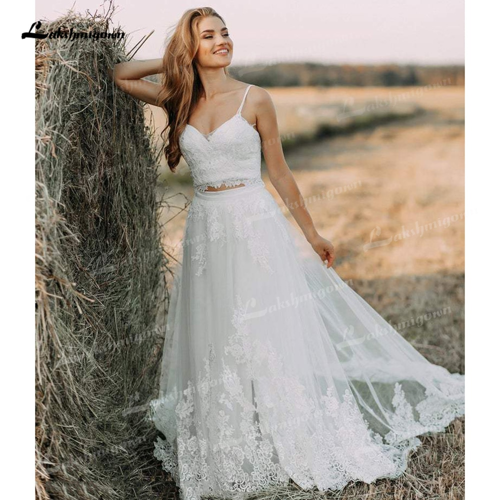 Get Boho Organza And Tulle A-Line Wedding Dresses Two Piece Spaghetti Straps Neck Sleeveless Chapel Train Bride Gowns Appliques Lace