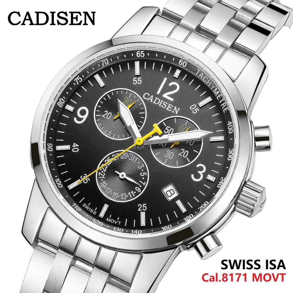 CADISEN جديد رجالي الرياضة ساعات كوارتز السويسري عيسى Cal.8171 حركة العلامة التجارية الأعلى الياقوت مقاوم للماء كرونوغراف فاخر Reloj Hombre