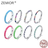 zemior real 925 sterling silver rings for women rainbow cz simple fashion finger ring stackable enamel brand fine jewelry rings