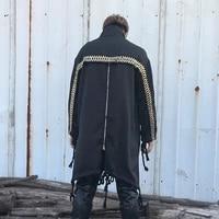 men casual long collar coat men jacket male personality zipper irregular loose large size windbreaker long coat men trench coat