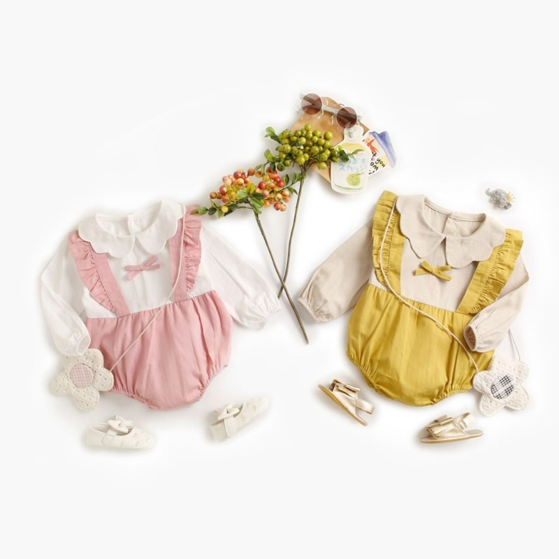 Universal Baby Footed Pajamas for Sleep and Play, Pure Cotton Infant Footie Unionsuit with Petals Collar
