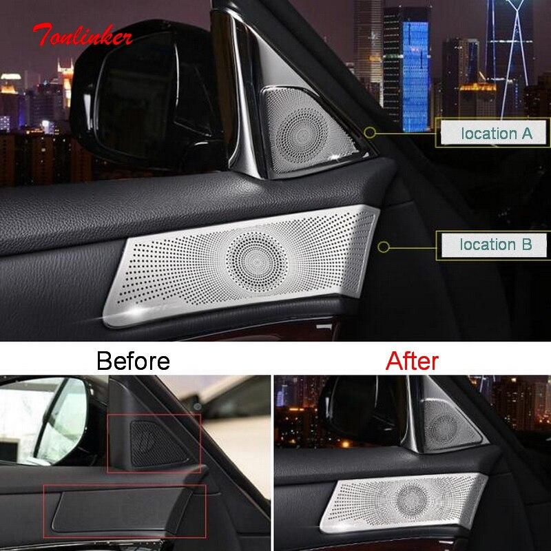 Tonlinker Interior Car Door Speaker Cover sticker For Infiniti Q70/Q70L 2019-2020 Car styling 2 PCS Stainless steel Stickers