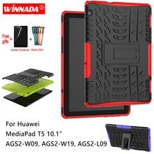 Для huawei MediaPad T5 10 чехол для AGS2-W09 AGS2-W19 AGS2-L09 планшет 10,1 армированного силикона TPU + PC противоударный чехол с подставкой + ручка + Защитная пленка на экран