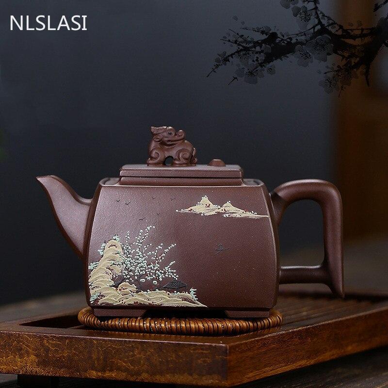 Yixing-إبريق شاي صيني بفلتر من الطين الأرجواني ، طقم شاي ، خام ، صناعة يدوية ، غلاية تجميل ، مخصصة ، أصلية ، 340 مللي