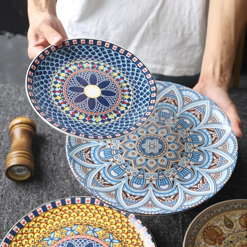 الأوروبي نمط السيراميك أدوات المائدة البوهيمي شقة لوحة المنزل لوحة رسمت باليد لوحات الضحلة طبق و الحلوى الإبداعية نمط