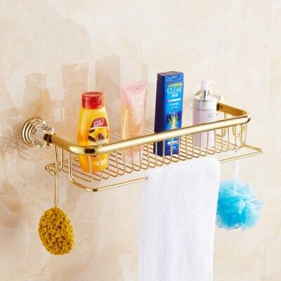 Vidric Luxury crystal brass gold bath shampoo holder towel hooks Bathroom Accessories bath hardware EL7089