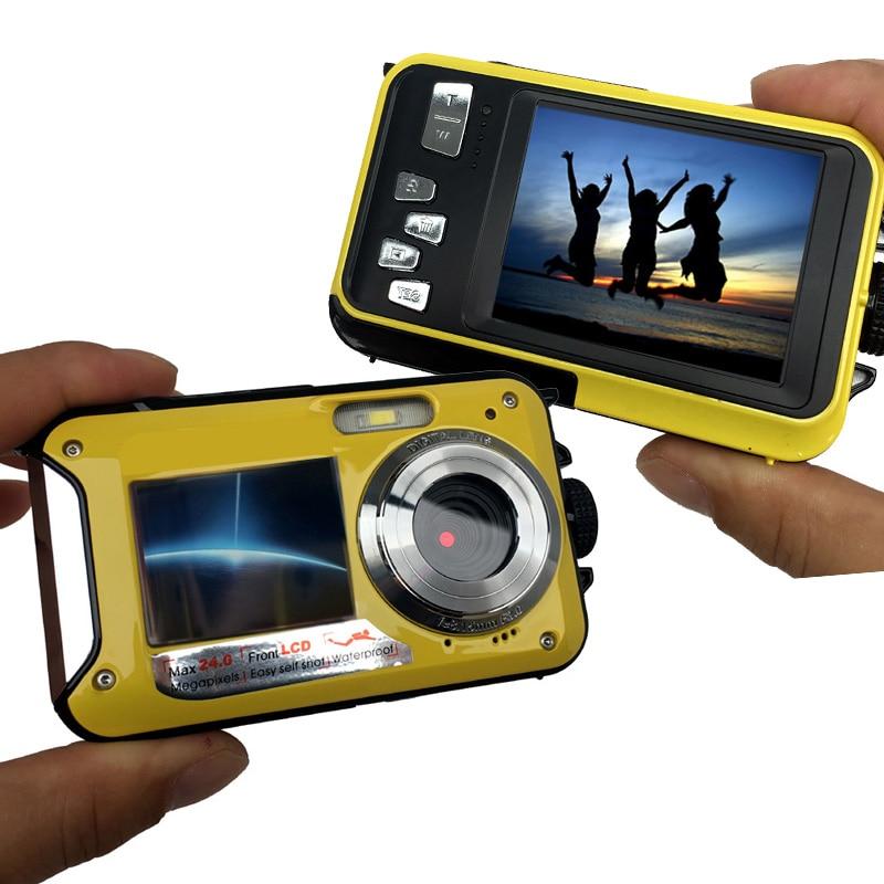HD 1080P Waterproof Digital Camera Dual Screens (Back 2.7 inch + Front 1.8 inch) 16x Zoom Underwater Camcorder Cam