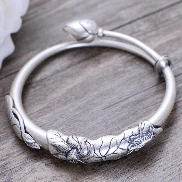 Gb2135 925 prata esterlina jóias antigo chão carpa lotus senhora pulseira