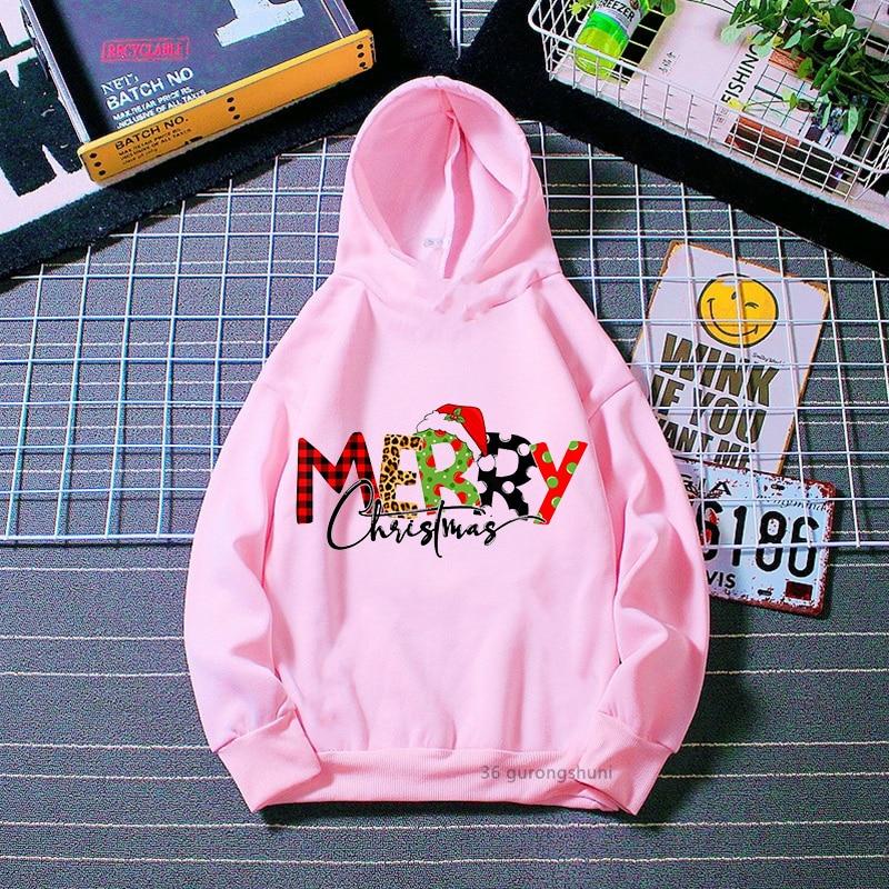 Милые толстовки для девочек, Рождественский мультяшный принт для детей, рождественский подарок, одежда, модная детская розовая толстовка, т... недорого