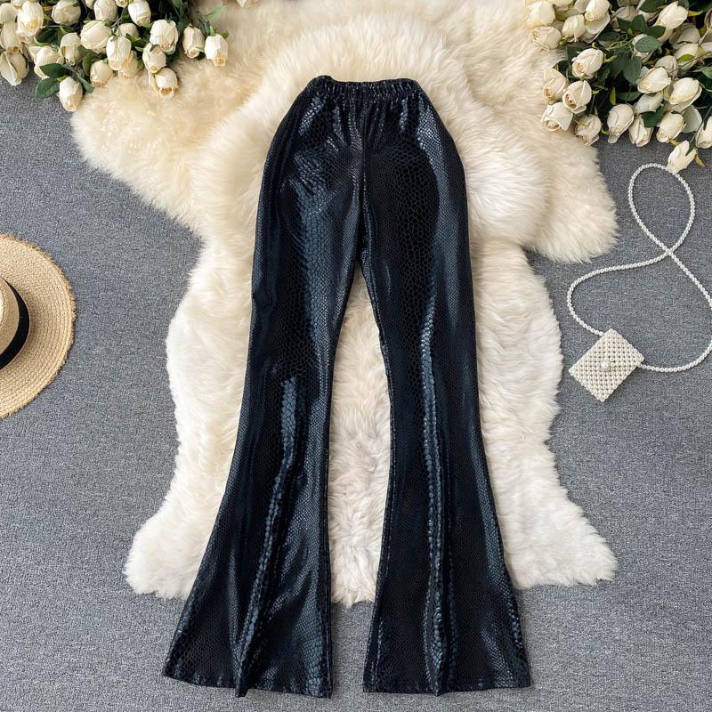 Шикарные женские узкие расклешенные брюки с высокой талией, элегантные облегающие Женские повседневные брюки, осенние женские брюки