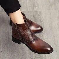 retro original martin boots mens leather boots italian zipper mens formal shoes side buckle elegant decent mens boots eu38 44