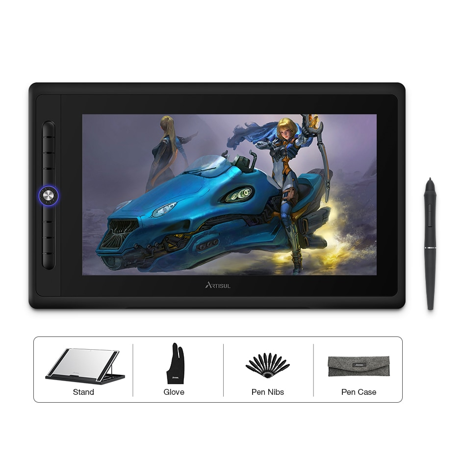 Artisul D16 PRO 15.6 inch Graphic Tablet Digital Drawing Pad Monitor with Shortcut Keys and a Dial 8192 Levels Battery-Free Pen