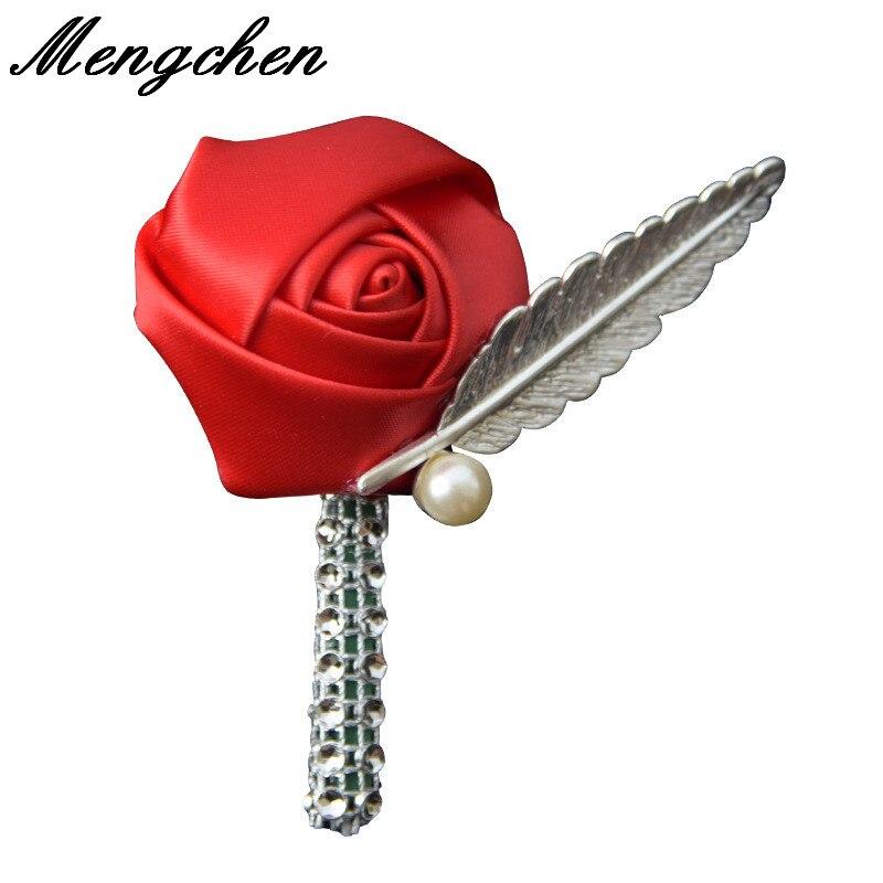 Colorida decoración nupcial Rosa flor botonier para novio broche ojales padrino Pin mano flores accesorios graduación