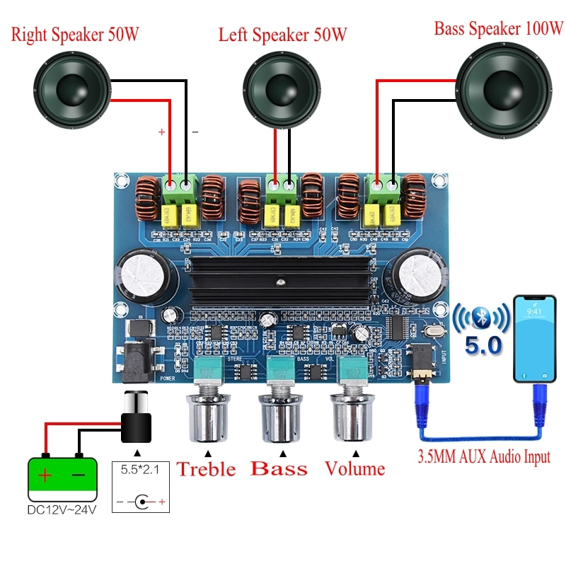 XH-A305 Bluetooth 5.0 Stereo Digital Power Amplifier Board TPA3116D2 50Wx2+100W 2.1 Channel Audio Bass Subwoofer AUX AMP Module