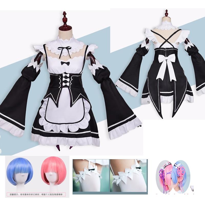 Anime re zero kara ram rem cosplay traje cosplay anime peruca halloween traje de empregada vestido anime cosplay roupas tamanhos grandes