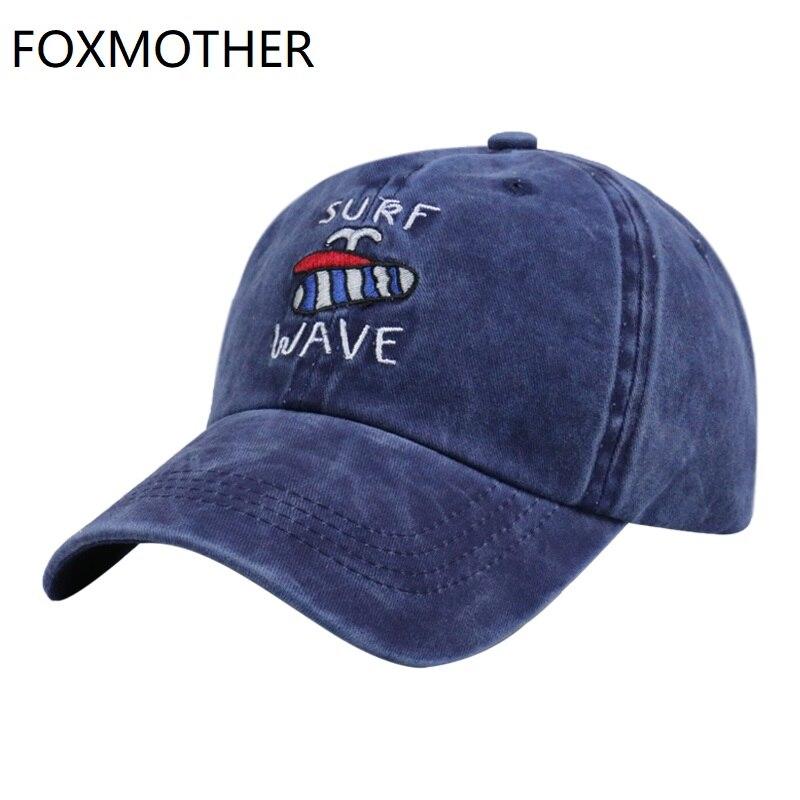 FOXMOTHER lavados nuevos gorra de béisbol de mezclilla para hombre de algodón bordado SURF WAVE padre Snapback sombrero al aire libre Unisex deporte Bone Gorras
