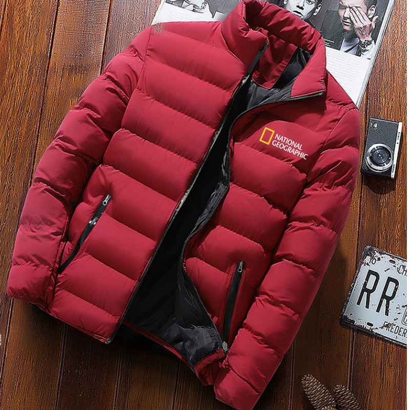 New men Down Jackets for National Geographic magazine Harajuku style print peripheral men clothes tops
