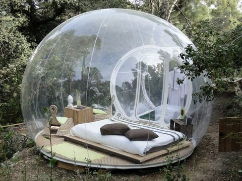 Tente igloo gonflable transparente avec tunnel