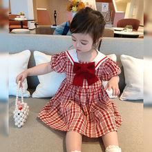 College style girls skirt 2021 new children's summer Korean version of the red plaid baby dress kids