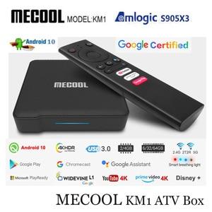 Image 1 - ТВ приставка Mecool с сертификатом Google, Android 10,0, KM1, Amlogic S905X3, Android 10, ATV, 2T2R, 4K, двойной Wi Fi, умный медиаплеер Android TV