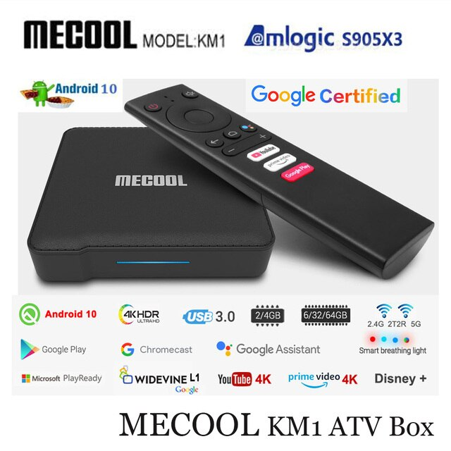 ТВ приставка Mecool с сертификатом Google, Android 10,0, KM1, Amlogic S905X3, Android 10, ATV, 2T2R, 4K, двойной Wi Fi, умный медиаплеер Android TV