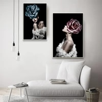 modern vogue posters and prints black white girl flower wall art canvas painting pictures for living room home decoration cuadro