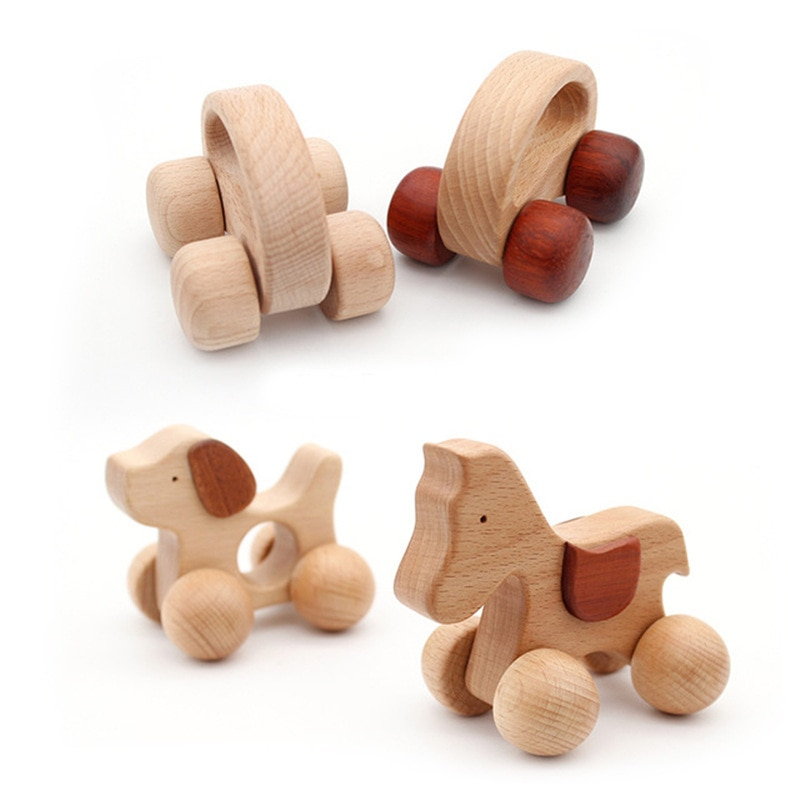 Puzzle Baby Toy Wood Teether Bell Rattles Beech Wooden Dog Car Shape Cartoon Wooden Rattle Handle Ch