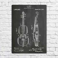 violin 1921 patent music metal tin sign metal sign wall decor fashion art decor poster