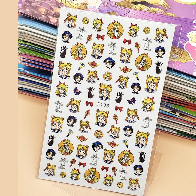 3D Stickers for Nails Bow Anime Girl Cat Designs Nail Art Decorations Foil Decals Wraps Manicure Accessories Decoraciones